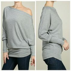 New gray off the shoulder dolman Solid knit, off shoulder tunic with dolman sleeves and a loose fit.  Comes in mocha, black, and ivory and gray. Price is for one.  Available sizes: small, medium and large.   Bundle discounts available Tops