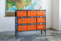 3 x 3 Vintage Locker Basket Unit with Tangerine Finish Drawers and Natural Steel Frame