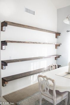 """If you are in on the farmhouse craze that is taking over the design world,  these affordable farmhouse inspired shelves are just the thing for you!  They take a few days to complete and will add so much character to any  space in your home!! We decided to put these in after """"Cottage White""""  magazine contacted me with a potential offer to be featured in an upcoming  issue! I wanted to add more character to our home and really do something  that was visual and impactful to the space! These…"""