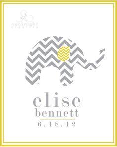 8e33a881928 Stella s big girl room    Custom Name Elephant Print.  18.00