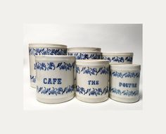 Set of 6 French Vintage Ceramic Kitchen Canisters with Ornate Floral Blue 0rnament - Early Twentieth Century
