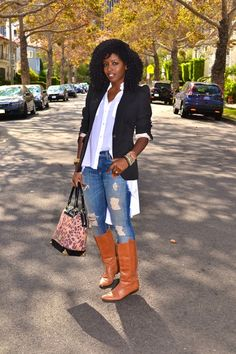 Style Pantry | Puff Sleeve Blazer + Button-Up + Distressed Skinnies