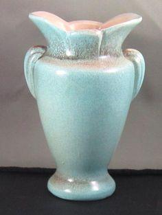 Vintage Gonder USA Tab Handle Vase E-1 Soft Green & Pink Matte Glaze VG