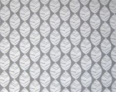 Organic Cotton Fabric - Monaluna -  Leaves - Gray Background - Urban Patch Collection - 1/2 yard