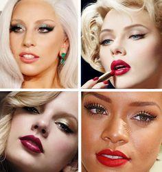 Essas são as minhas inspirações de make de Natal! Gaga, Scarlet, Taylor e Rihanna.  E você? Já sabe qual vai usar? Sombra verde, branca ou dourada? Forte ou delicada? Com ou sem delineado? E o Batom? Vermelho, coral, rosa ou vinho?