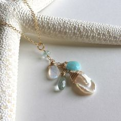 Pearl Gemstone Cluster Necklace, Pale Blue and White Necklace, Larimar, Aquamarine, Moonstone, Keshi Pearl