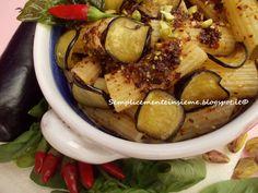Rigatoni con frittino di melanzane e basilico