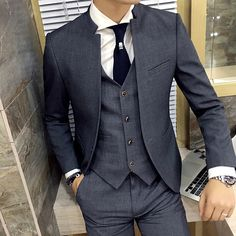 men's suits Chinese-style Standing collar solid single buckle Slim suits dress marriage High-quality business casual jacket