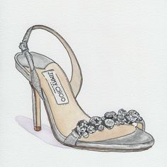 """Jimmy Choo """"Lotus"""" Bridal Shoe. Watercolor and ink. Contact me to preserve your wedding shoe melissawoodland.net"""
