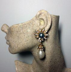 Chanel Vintage Gripoix Pearl Crystal Flower Dangle Earrings Chanel Earrings, Dangle Earrings, Chanel Designer, Crystal Flower, Vintage Chanel, Designer Earrings, Dangles, Brooch, Pearls