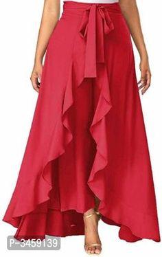 PJK COLLECTIONS Women' Ruffle pink Pants Split High Waist Maxi Long Crepe Palazzo Overlay Pant Skirt Trousers Women, Pants For Women, Women's Trousers, Western Wear For Women, Womens Maxi Skirts, Skirt Pants, Ruffle Pants, Pink Pants, Flare Skirt