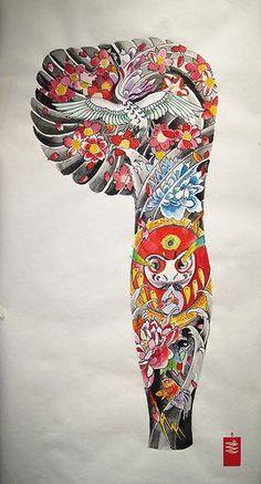 Daruma's dream, New Style Japanese sleeve tattoo by yoso tattoo (www.yoso.eu), via Flickr