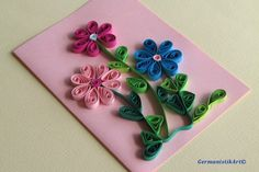 Flowers Quilling Birthday Card, Flowers Handmade Mother's Day Card, Flower Birthday Card, Blank birthday card by GermanistikArt on Etsy https://www.etsy.com/ca/listing/117720742/flowers-quilling-birthday-card-flowers