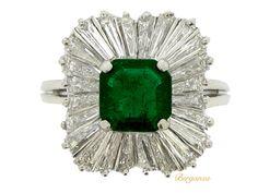J. E. Caldwell emerald and diamond ballerina ring, American, circa 1963.