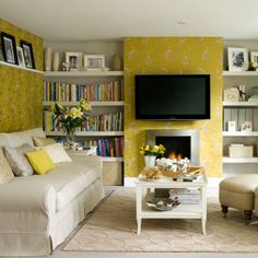 Decoration, Drop Dead Gorgeous Yellow Wallpaper Living Room Interior Ideas With Lcd Tv Unit Hanging On The Wall Also Bookshelf Pictures Frame Comfy Elegant Grey Sofa And Cushions Coffee Table: Looking for The Greatest And Comfortable Yellow Room Ideas Small Living Room Design, Simple Living Room, Living Room White, White Rooms, Small Living Rooms, Living Room Interior, Living Room Furniture, Living Room Designs, Modern Living