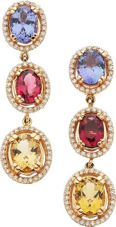 Tanzanite, Tourmaline, Diamond, Gold Earrings. ... Estate | Lot #54280 | Heritage Auctions