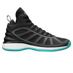 """The newest member of the """"Jump Higher"""" family, the APL Boomer is a modern take on performance basketball supremacy. The high-top silhouette is accentuated by a molded heel counter that adds unprecedented support and lockdown. Open mesh windows wrap from lateral to medial allowing your feet to stay cool and dry even in the most intense game situations. TPU cage acts as a support structure, securing your feet during quick cuts and acceleration. The integrated toecap adds durability ..."""