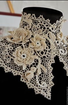 """Collar and bracelet """"Precious rose"""" Russian Crochet, Crochet Art, Thread Crochet, Irish Crochet, Crochet Motif, Vintage Crochet, Crochet Designs, Vintage Lace, Crochet Flowers"""