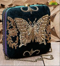 Teal Butterfly Zardozi Embroidered Velvet Clutch by Karieshma Sarnaa at Indianroots.com
