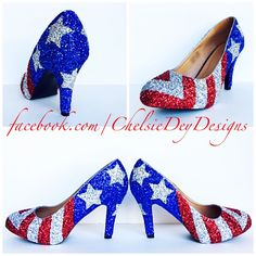 American Flag High Heels - Glitter Red White and Blue Miss America Heels - Stars and Stripes Pumps - Military Wedding Shoes - Prom High Heel - pinned by pin4etsy.com