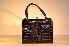 *VINTAGE* ELEGANT Creations by International Brown Leather Alligator Handbag