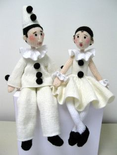 Knit Pattern to Buy - Pierrot and Pierrette Alan Dart : I don't like clowns they scare me to death lol but I love these Doll Clothes Patterns, Doll Patterns, Knitting Patterns, Crochet Patterns, Knitted Dolls, Crochet Dolls, Pierrot Clown, Knitted Animals, Sewing Projects For Kids