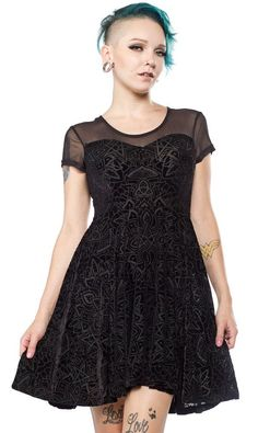 Killstar,  'Forever starts tomorrow' skater dress with mesh yoke, sweetheart neckline and cap sleeves - in an extra luxe velvet burn out fabric; featuring a repeat mandala design. | eBay!