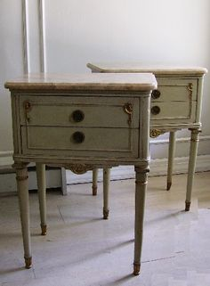 French, Marble Topped End Tables