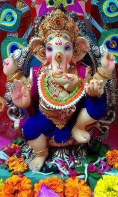 ... ॐ ❤ Jai Ganesh, Ganesh Idol, Shree Ganesh, Lord Ganesha, Dagdusheth Ganpati, Ganpati Bappa, Pune Ganpati, Clay Ganesha, Ganesha Painting