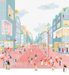 "An illustrated view of 'A future for the Oxford Street district' grafisch illustratie rood roze blauw geel perspectief An illustrated view of ""A future for the Oxford Street district"" graphic illustration red pink blue yellow perspective Collage Architecture, Cultural Architecture, Architecture Graphics, Architecture Portfolio, Architecture Drawings, Rendering Architecture, Visualisation, Architecture Visualization, Graphic Illustration"