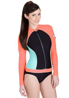Sure Look Swell One-Piece Swimsuit - Knit, Orange, Blue, Black, Solid, Trim, Beach/Resort, Exposed zipper, Pockets, Long Sleeve, Summer, Tankini