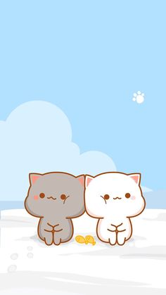 Kawaii shared by s ♡ ha on we heart it Wallpaper Gatos, Wallpaper Kawaii, Cute Cat Wallpaper, K Wallpaper, Cute Animal Drawings, Kawaii Drawings, Cute Drawings, Chat Kawaii, Kawaii Cat