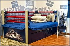 And in this corner we have a really cool Boxing bed and a wall mural of the boxing ring.