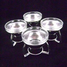 Vintage Soda Fountain Glass Sundae or Ice Cream Dish in Metal Holder