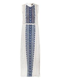 Boho/colorful styles to wear on Cinco de Mayo: Sea Embroidered Cotton-Voile Maxi Dress ($690)