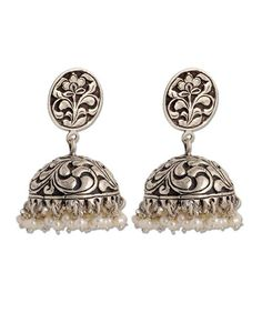 Handmade Traditional Jhumka, Indian Jhumka, Offering handcrafted gold and silver… Metal Jewelry, Antique Jewelry, Jewelery, Silver Jewelry, Antique Silver, Silver Jhumkas, Jewelry Accessories, Jewelry Design, Indian Earrings