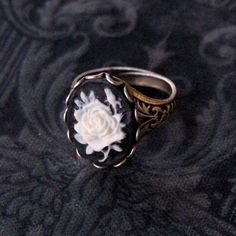 Black Rose Cameo Ring - Silver by ragtrader on Etsy https://www.etsy.com/listing/79040570/black-rose-cameo-ring-silver