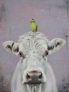 Cow print cow art cow and bird picture print by VictoriaColemanArt