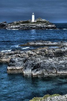Godrevy #Lighthouse - #Cornwall. This was the location of the event leading to the grant of arms by Queen Anne in 1764 to the family of the Rev. John Hockin of Phillack, in which the incursion by a French frigate at Godrevy was prevented by his son Thomas and a servant. - http://dennisharper.lnf.com/