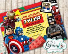 Lego Superheroes Invitation LegoBirthday Birthday Party Movie Superhero