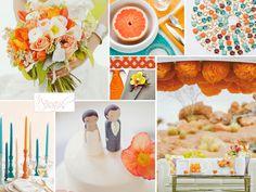 tangerine orange and aqua blue wedding inspiration | from Burnett's Boards