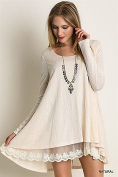 807f8eb6f16d Long Sleeve Knit Top With Lace Detail Lace Knitting, Knit Lace, Knit Dress,