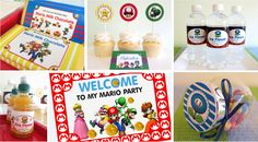 Mario Party Printables!!!  This website has the PERFECT Super Mario Bros. party printables for FREE.  This is perfect for my little boy's birthday party!