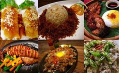 Wow! A lot of my favorite food in one pic! (from left to right) Vegetable roll, fried rice, chicken barbecue, bbq squid, sisig, bicol express Filipino Food, Filipino Recipes, Bbq Squid, My Favorite Food, Favorite Recipes, Sisig, Barbecue Chicken, Pinoy, Yummy Yummy