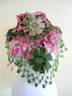 Pink & Green, flower shawl ,wedding ,bride, scarf