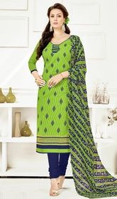 Green Color Embroidered Cotton Churidar Suit #amazoncomchuridar#embroideredchuridarsuits Aspire to look stylish wearing this green color embroidered cotton churidar suit. The wonderful dress creates a dramatic canvas with fantastic butta, lace and resham work. USD$ 55(Around £ 38 & Euro 42)