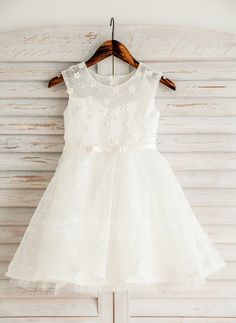 1e26166d9aadef A-Line Princess Knee-length Flower Girl Dress - Satin Lace Sleeveless Scoop  Neck With Beading Flower(s) Bow(s) - Flower Girl Dresses - JJsHouse
