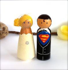 He is my Super Hero! Clark Kent and Lois Lane Superman Wedding Cake topper by CreativeButterflyXOX.