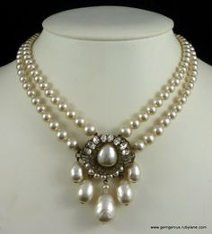 Rousselet Pearl and Rhinestone Necklace with Large Centre Pearl Drop