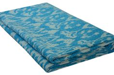 Indian Queen size Turquoise Ikat Kantha Quilt Bedcover by lavinas